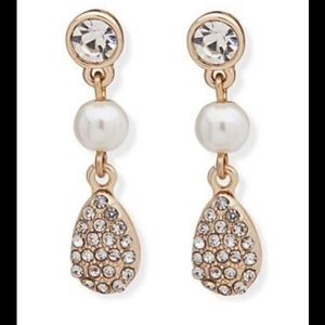 Anne Klein new Crystal and Pearl drop Earrings